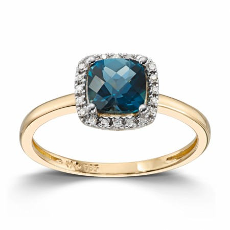 MG Diamonds - Ring i gult gull med diamanter og London blue topas