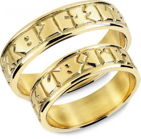 0a64284f Snorre - Gifteringer, gult gull med runeinskripsjon